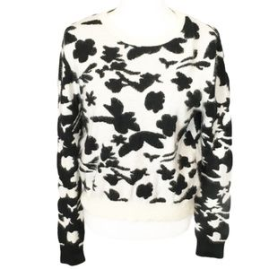 TOPSHOP angora blend sweater black and cream 10